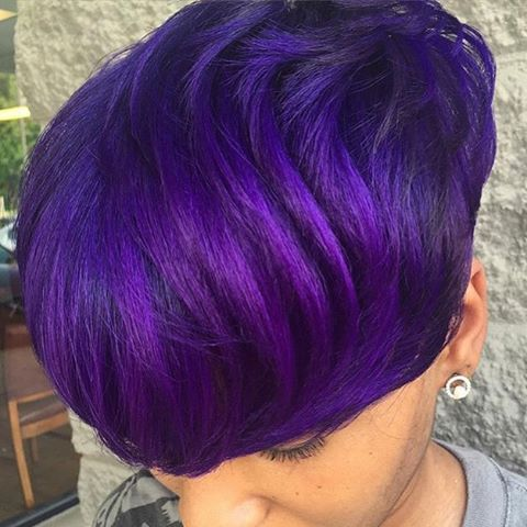 STYLIST FEATURE| Love this rich #purple hair color on @HairByChanteNichelle on this #haircut  So vibrant #VoiceOfHair