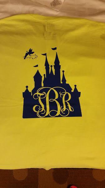 Disney castle monogram initials heat transfer vinyl design on tshirt.