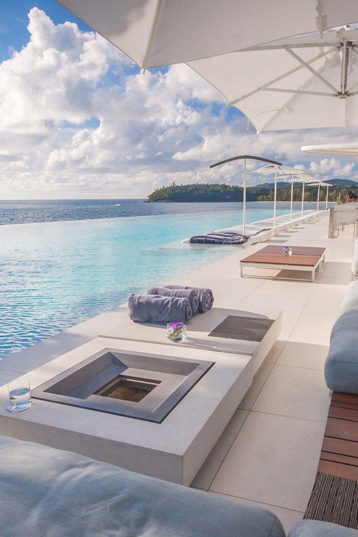 Kata Rocks Hotel, Phuket, Thailand: The angular infinity pool overlooks the Andaman Sea. .
