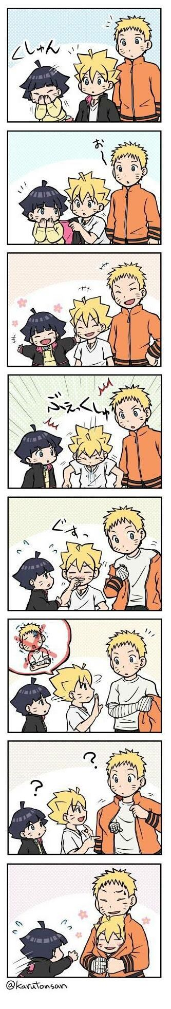 Kawaii Uzumaki family getting cold... Oh Boruto...