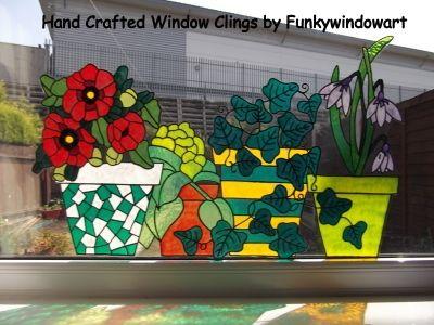 flower pots window border style 6 static window cling - Window Clings