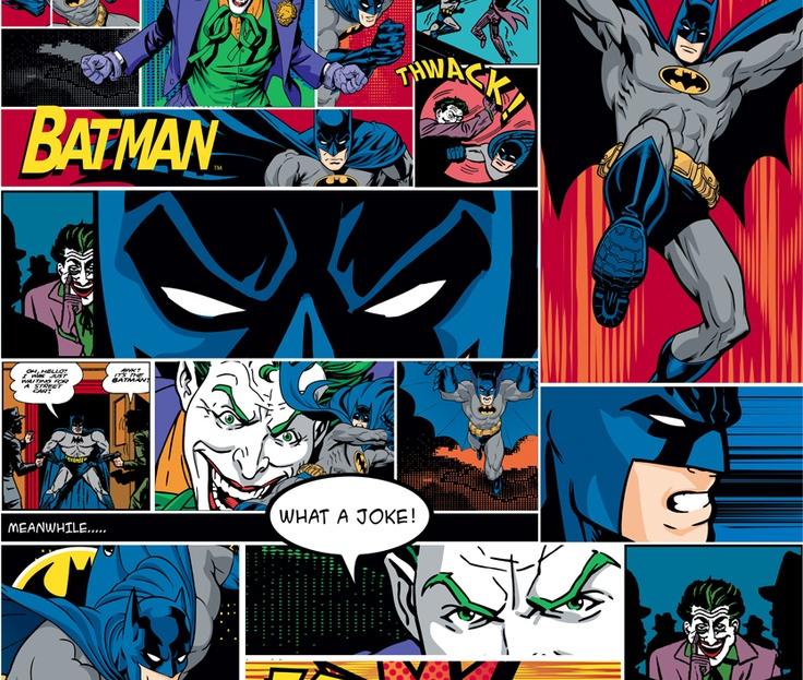 Cool comic print batman superman wallpaper murals for Batman mural wallpaper