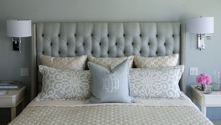 Bedroom | Morgan Harrison Home | pale blue grey gray tufted upholstered headboard nailhead trim, lucite wall sconce drum shade