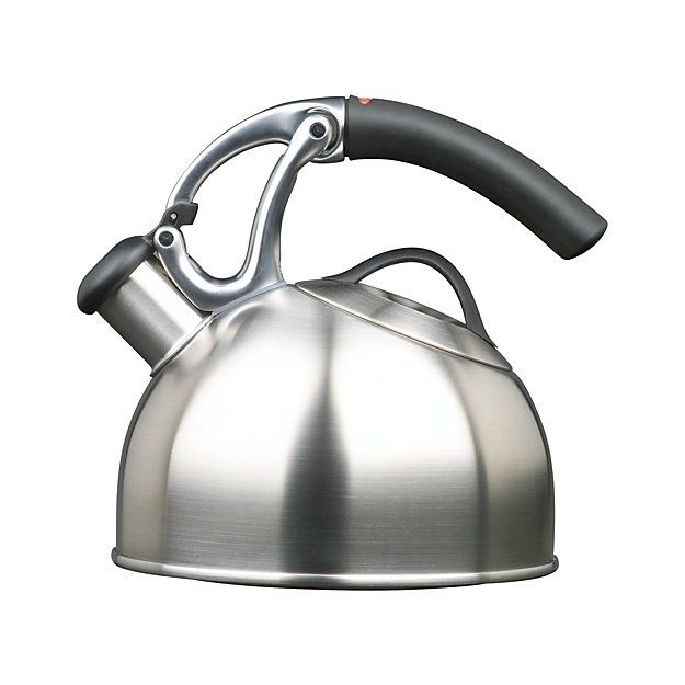 Wake up to this durable, dynamically styled whistling teakettle in sleek brushed stainless.