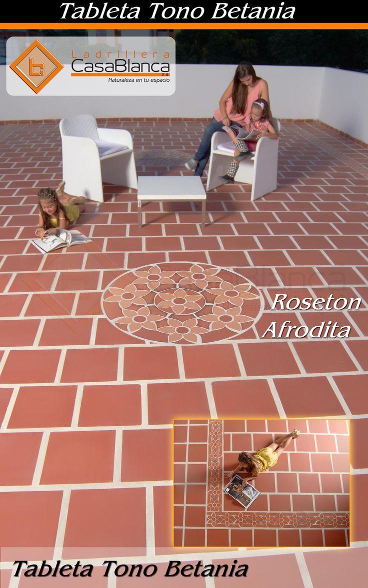 Terraza con piso en tono Betania y roseton Baco. Exterior - Ladrillera Casablanca. Si lo puedes imaginar te lo podemos crear.  Santa Lucia - Cucuta, Norte de Santander, Colombia.  Naturaleza en tu espacio! www.ladrilleracasablanca.com