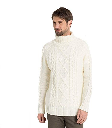 WoolOvers Mens Pure Wool Aran Polo Neck Knitted Jumper Flannel, L: Amazon.co.uk: Clothing