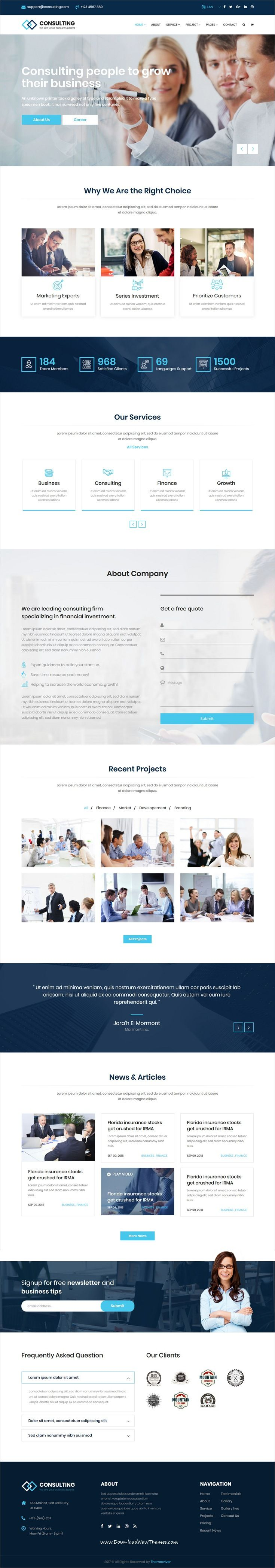Consulting is clean and modern design 6in1 responsive #bootstrap template for #corporate, business, #finance and professional services website to live preview & download click on Visit 👆