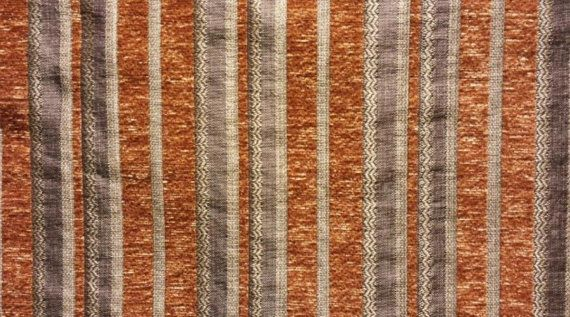 """Rustic Stripe Chenille Upholstery Drapery fabric by the yard 57"""" Wide"""