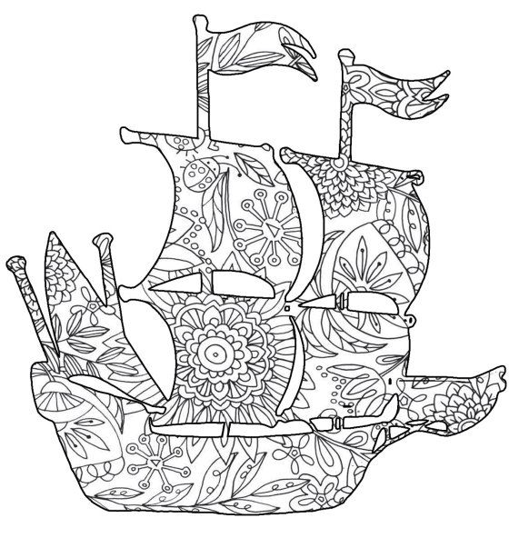 Nautical Coloring Pages For Adults : Nautical ship pages adult coloring