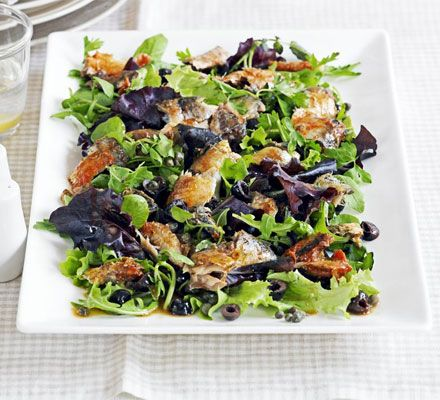 A superhealthy salad that's full of intense flavours with oily fish, olives and capers