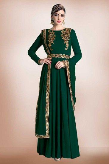 5dc3ba35c199 Georgette Bottle Green Embroidered Gown with Chiffon Dupatta - DMV14513