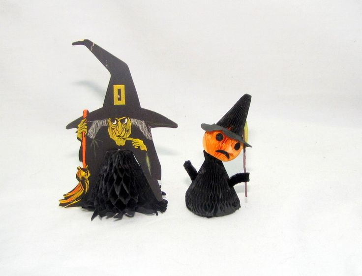 halloween witch honeycomb crepe decoration hallmark party 2 vintage - Hallmark Halloween Decorations