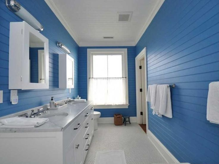 Bathroom Blue Wall Tile Designs Ideas with large bathroom vanity and white cabinets also white marble countertop