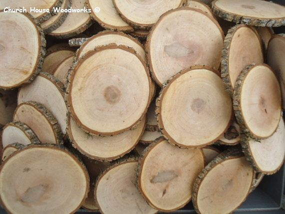 25 qty 3.25 coaster size wood slices by ChurchHouseWoodworks