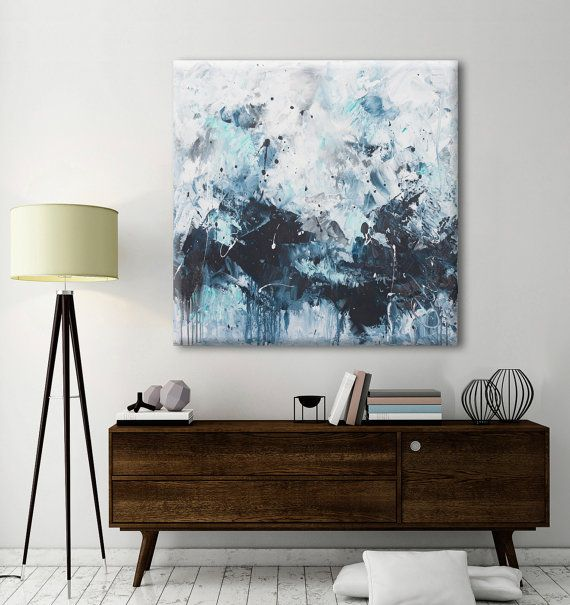 abstract seascape painting square modern by ElenasArtStudio