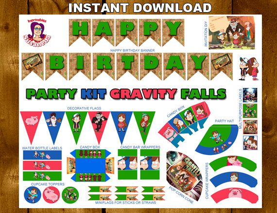 GRAVITY FALLS Printable Party Kitgravity by ImprimiblesSusaneda