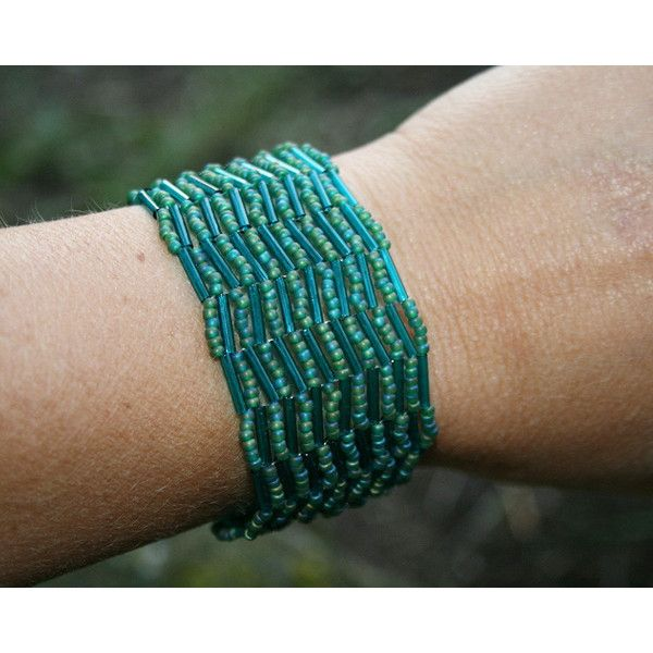Green Bracelet, Teal Bracelet, Beaded bracelet, SEED BEAD bracelet,... (209 PLN) ❤ liked on Polyvore featuring jewelry, bracelets, boho jewelry, cuff bangle, seed bead cuff bracelet, green bangles and teal jewelry