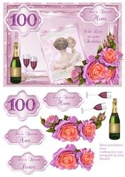 100th Birthday card with decoupage roses   vintage lady on Craftsuprint - View Now!