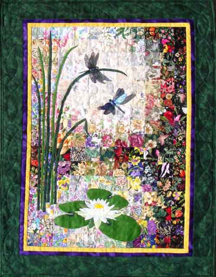 Wall hanging and fabric kit for Spring. Dragonflies & Lilypads Quilt Kit WHIM-139 by Whims Watercolor Quilt Kits - Susan Stutzman.  Check out our animal & nature quilt patterns. https://www.pinterest.com/quiltwomancom/animal-nature-quilts/  Subscribe to our mailing list for updates on new patterns and sales! https://visitor.constantcontact.com/manage/optin?v=001nInsvTYVCuDEFMt6NnF5AZm5OdNtzij2ua4k-qgFIzX6B22GyGeBWSrTG2Of_W0RDlB-QaVpNqTrhbz9y39jbLrD2dlEPkoHf_P3E6E5nBNVQNAEUs-xVA%3D%3D