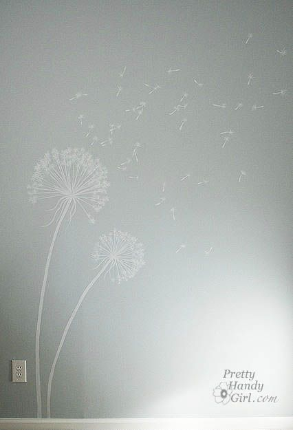 Painting Dandelions on the Wall.    I want to do this in the powder room at my house. I know exactly where I'd place it, too.