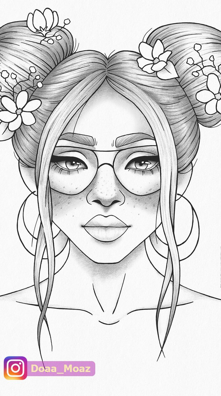 Printable Coloring Page Girl Portrait And Clothes