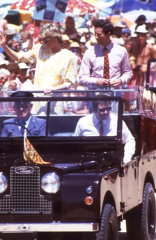 January 31, 1988: Prince Charles and Princess Diana in a Land Rover at Terrigal Beach, New South Wales.