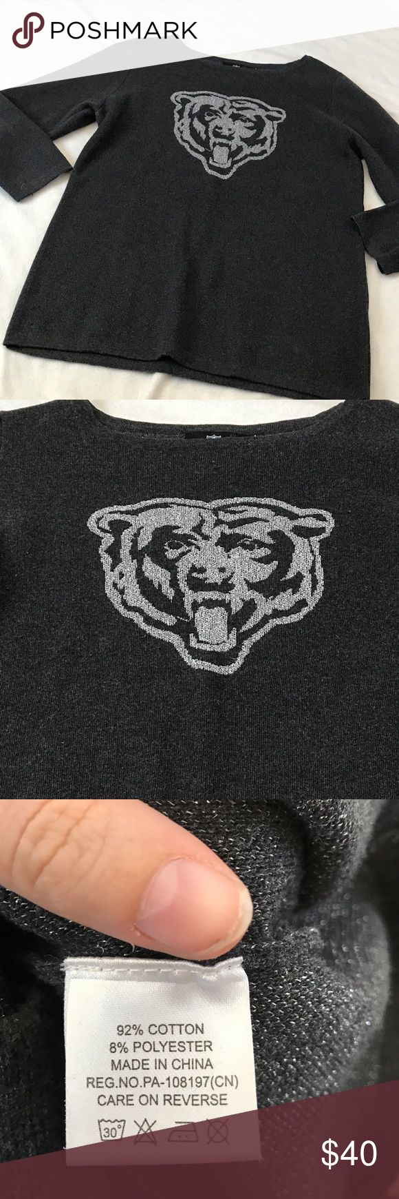 """NFL Chicago Bears Shimmer Logo Sweatshirt 29.5"""" length 21.5"""" armpit to armpit. Has dark gray color with a shimmer silver Bears logo on the front side. Long sleeve. Sweater like shirt. Bundle 2+ items for a discount. NFL Tops Sweatshirts & Hoodies"""