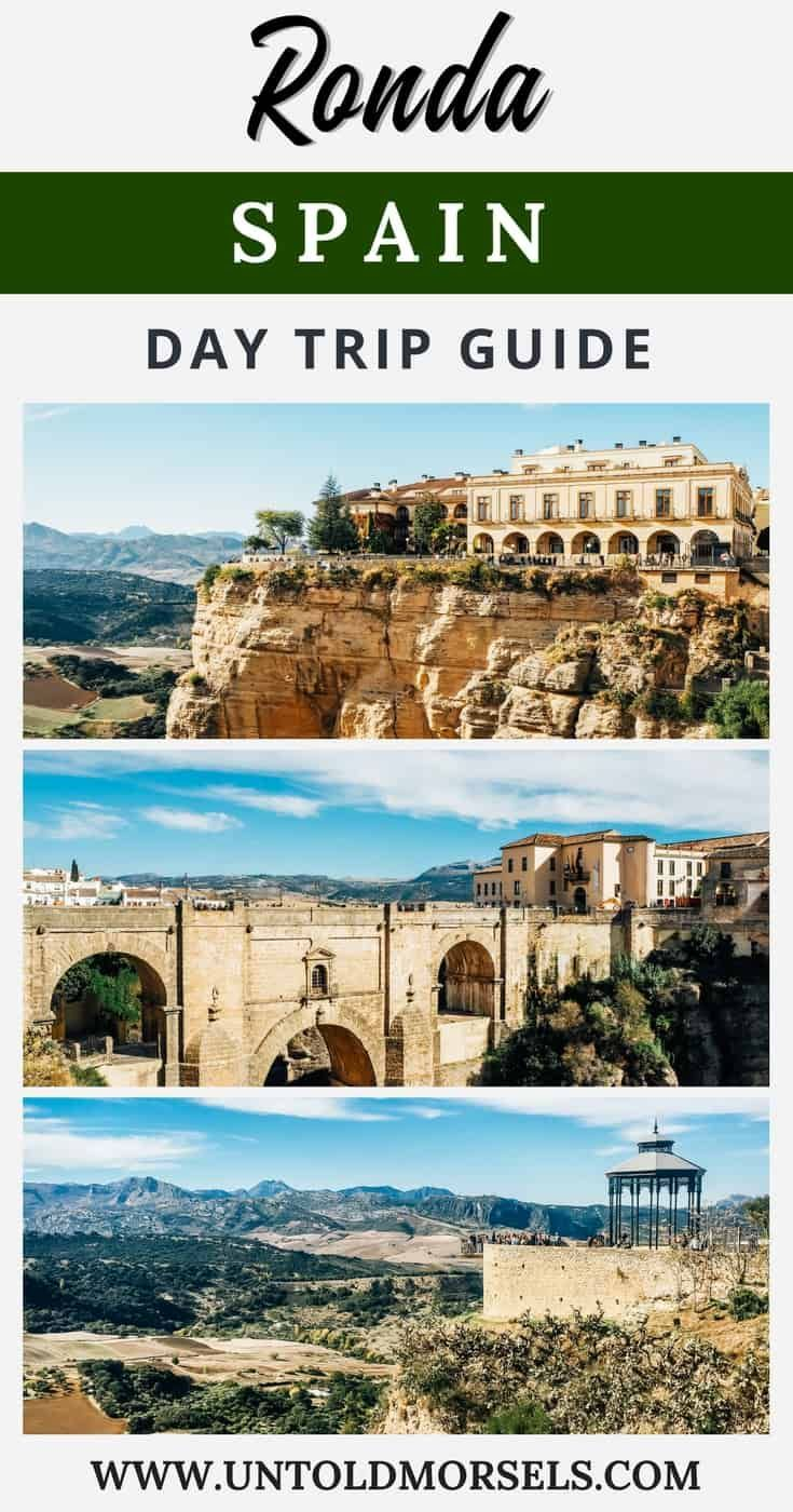 Ronda Spain travel - Ronda in Andalucia is one of the most beautiful places to visit in Spain. Perched high above the El Tajo gorge, visit Ronda for spectacular views. Click here for things to do in Ronda on a day trip from Seville or day trip from Malaga. Spain travel tips via @untoldmorsels