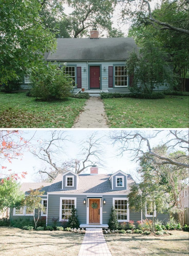 "What an inspiring before & after on the exterior of this home. Total paint job, sconces, awning, dormers, and natural front door. This link also shows the before & after floor plans! | ""The Baby Blue House"" on HGTV's Fixer Upper"
