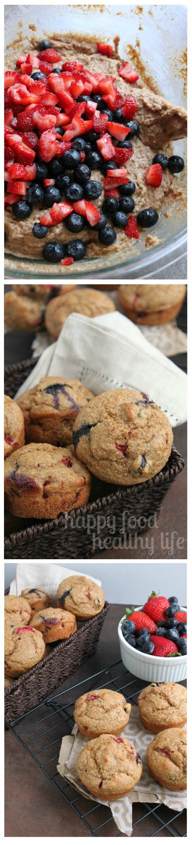 Berry Bran Muffins - the perfect on-the-go breakfast or snack, full of whole grains and seasonal berries. www.happyfoodhealthylife.com