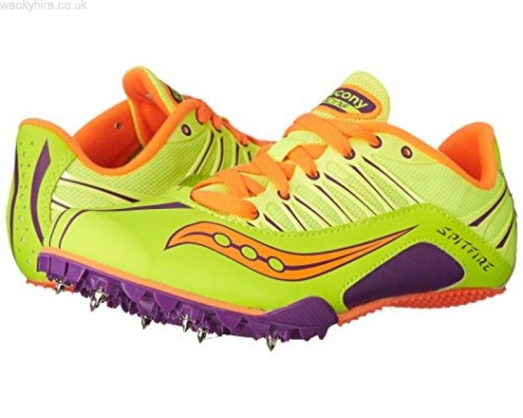 Saucony Womens Spitfire Track and Field Spike Shoes Citron/Purple/Orange 11 - 12 #Saucony