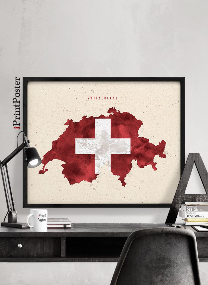 Switzerland map flag print, Swiss, Switzerland flag poster, Art print, Wall art, Travel, Wall decor, Wall decor, Home Decor, iPrintPoster by iPrintPoster on Etsy