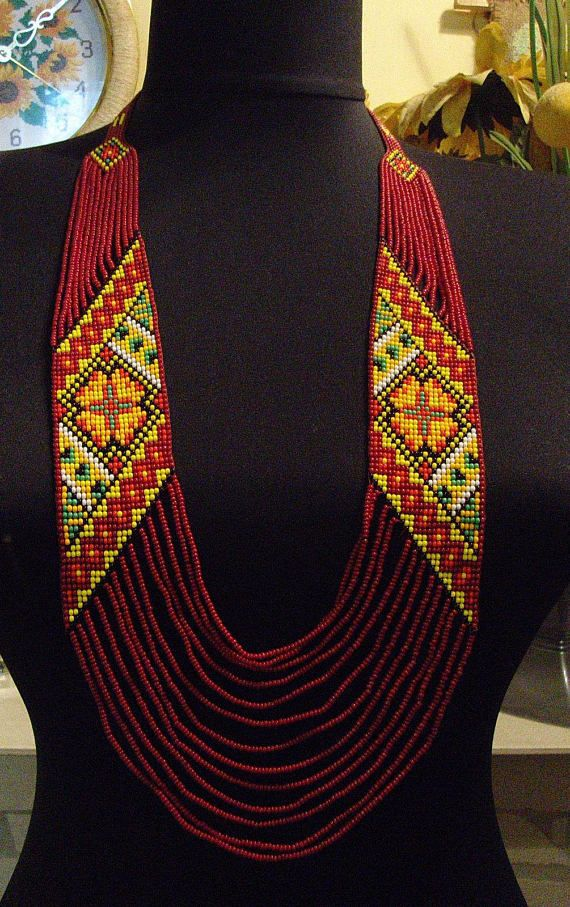 Ukrainian Handmade Jewelry Beaded Necklace Gerdan Ukraine