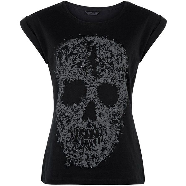 Black Studded Skull T-Shirt ($14) ❤ liked on Polyvore featuring tops, t-shirts, shirts, tees, skull shirt, black t shirt, cotton t shirts, short sleeve shirts and gothic t shirts