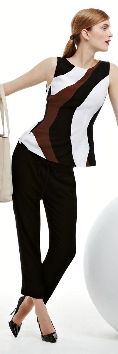 Kate Spade Tatiana Rio-Swirl top and Crepe Jersey Pants
