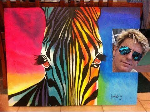 how to paint a easy rainbow zebra (acrylic) - YouTube