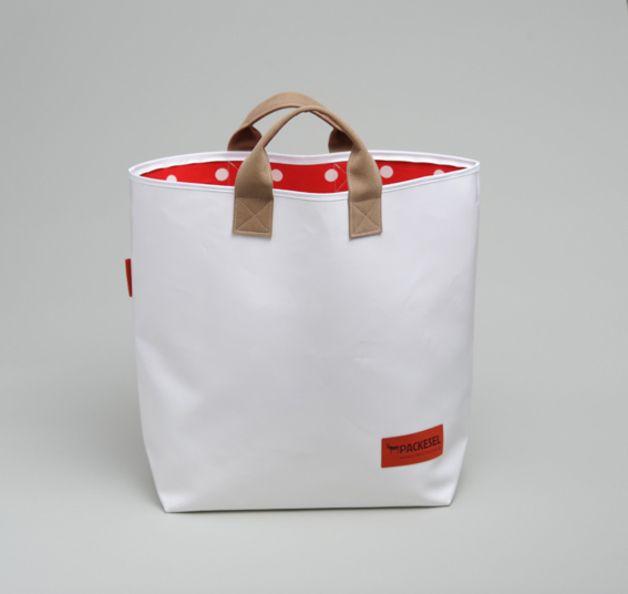 Einkaufstasche LKW Plane rot/ weiß gepunktet