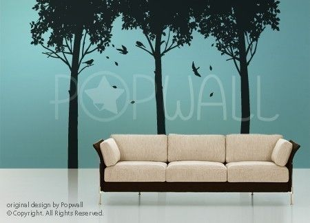 Art Tree Wall Sticker Wall Decals Tree Decal - Shady Trees with Birds