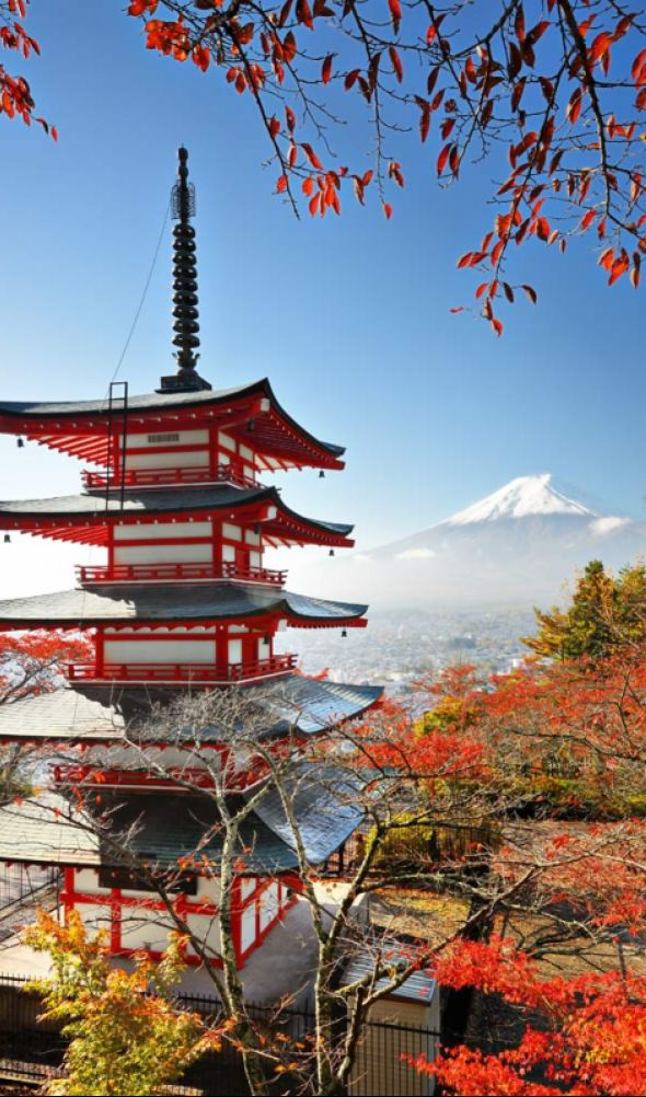 Shureito Pagoda and Mount Fuji ~ Japan