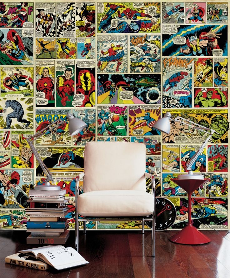 Avenger comic strip wall mural photo wallpaper for Comic book wallpaper mural