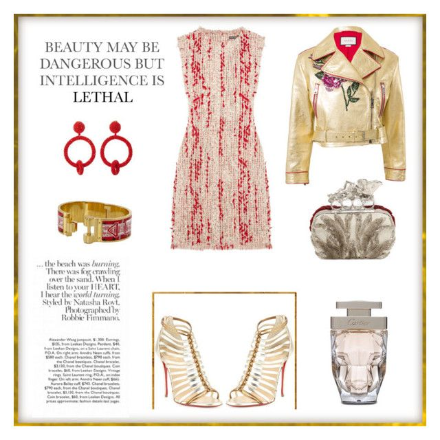"""""""Untitled #321"""" by joanna-tabakou on Polyvore featuring Alexander McQueen, Oscar de la Renta, Christian Louboutin, Hermès, Cartier and Gucci"""
