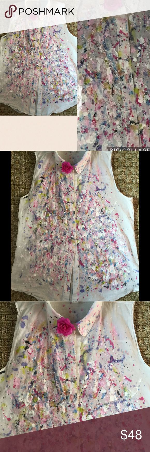 Custom painted American Apparel sleeveless top, ML Wear this, like this…custom artist painted white sleeveless cotton American Apparel top/tunic. Perfect for spring! Lightweight cotton, made in USA. Layers of paint create a beautiful one-of-a-kind effect. Colors include pastel pinks, white, deeper blue-violet, navy, fuchsia and chartreuse with some glitter-effect gold. Measures 22 inches under arm (flat) and approx 30 inches from shoulder to longest point of hem. Can also work as a bathing…