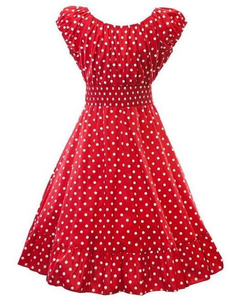 Retro 1950s Polka Dot Smock Swing Plus Size Fashion Dress