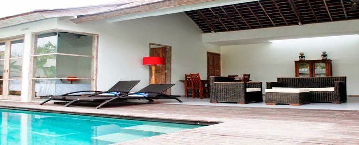 2 bedroom villa with private pool, living room and kitchen at The Decks Bali, Legian beach. #Bali #villas #privatevilla #poolvilla #villaforrent #travel #holiday #beach #vacation