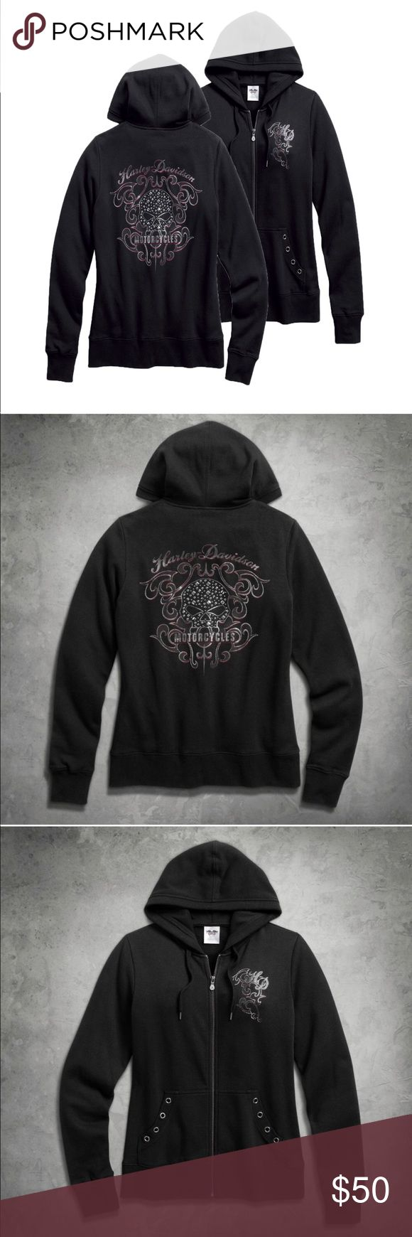 Harley-Davidson® Women's Willie G Skull Hoodie Embellishments like a glimmer rhinestone zipper pull and stud accents dress up the Scroll Willie G® Skull Hoodie. Rib-knit cuffs, waist & pocket trim help to retain the shape, while the angled hand-warmer pockets with eyelet trim take this beyond a basic. Made from a super-soft cotton/polyester blend, this embellished hoodie adds sparkle and style to anything you wear. Printed metallic graphics on left chest and back and printed skull graphics…