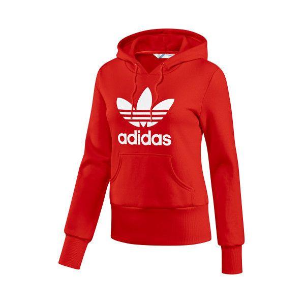 adidas - Trefoil Hoodie - Long Sleeve Tops (63 BRL) ❤ liked on Polyvore featuring tops, hoodies, sweatshirts, jackets, adidas, long sleeve tops, sweatshirt hoodies, red hoodies, adidas hoodie and hooded sweatshirt