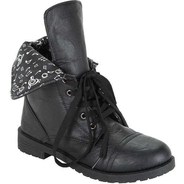 Hot Topic Black Music Note Lined Combat Boot ($40) ❤ liked on Polyvore featuring shoes, boots, combat booties, lace up boots, black combat boots, combat boots and black military boots