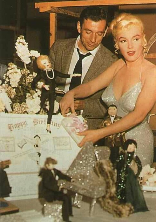 "Marilyn celebrating her 34th birthday with Yves Montand on the set of ""Let's Make Love"", June 1960."