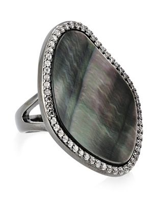 68% OFF CZ by Kenneth Jay Lane Free-Form Mother of Pearl Ring