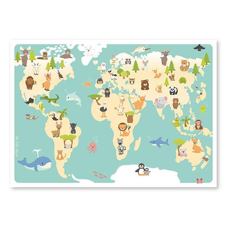 Wereldkaart dieren poster 70 x 50 cm Bewonder de wereld vanuit je eigen kamertje. Op deze wereldkaart zie je waar alle dierenvriendjes van Studio Circus wonen. Is dat niet geweldig! Een educatieve blikvanger aan de muur van elke babykamer en kinderkamer.